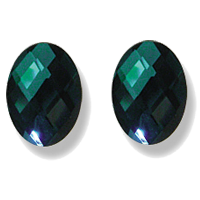 Magnetic synthetic emerald earrings